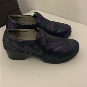 Alegria black iridescent leather wedges shoes 11